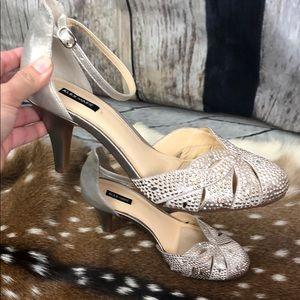 Alex Marie Metallic Gold Heels Size 9 M